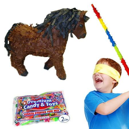 Brown Horse Pinata Kit Including Pinata, Buster Stick, Bandana, 2 lb Toy and Candy Filler (Pinata Horse)
