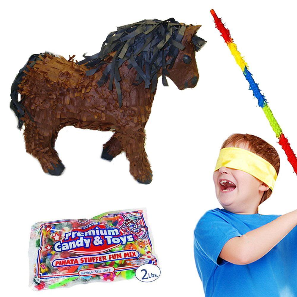 Brown Horse Pinata Kit Including Pinata, Buster Stick, Bandana, 2 lb Toy and Candy Filler