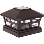 Greenlighting Dark Brown Solar Powered Pathway Deck Safety Fence Post Cap Light