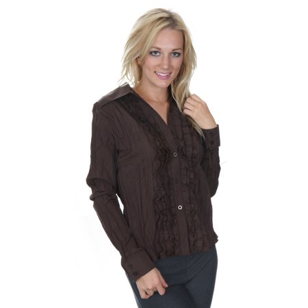 Cathaya Women's Brown Ruffle Trim Embellished Pleated Long Sleeve Shirt