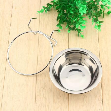 Anauto Pet Stainless Steel Bowl,Stainless Pet bowl, Stainless Steel Hanging Pet Cage Bowl Diner Pet Bird Cat Dog Food Water Bowl Hanger