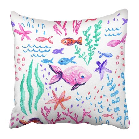 BPBOP Crayon Childlike Marin Underwater Sea Ocean Life Childish Drawing Cute Whale Fishes Starfish Corals Pillowcase 16x16 - Tropic Marin Pro Coral