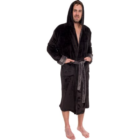 Mens Hooded Two Tone Plush Kimono Bathrobe Robe - Mens Hooded Bathrobe