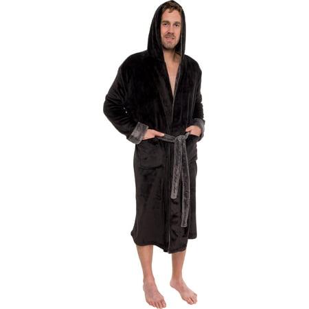 Mens Hooded Two Tone Plush Kimono Bathrobe - Mens Hooded Robes