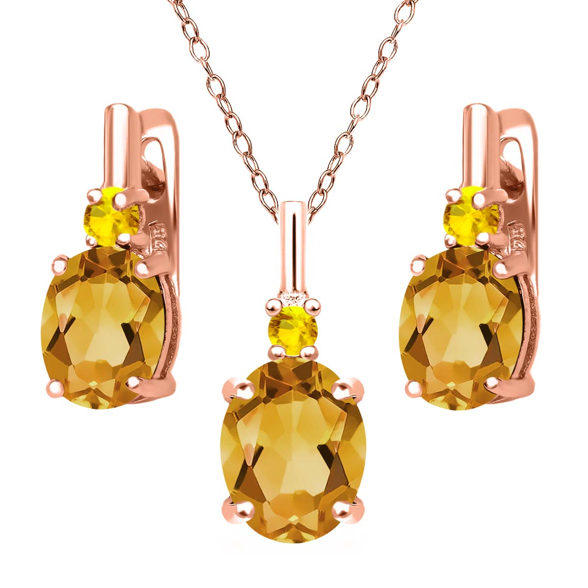 3.54 Ct Yellow Citrine Yellow Sapphire 18K Rose Gold Plated Silver Pendant Earrings Set by