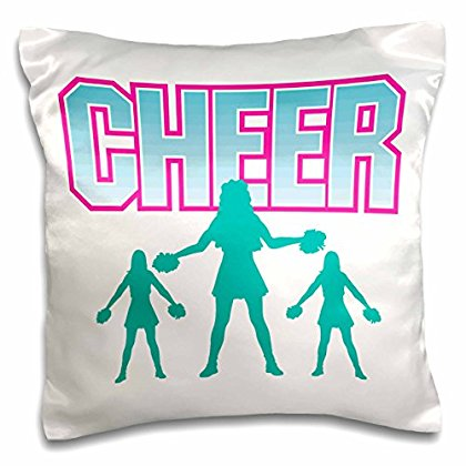 3dRose Cheerleading Cheerleader Cheer Sports Design, Pillow Case, 16 by 16-inch by 3dRose