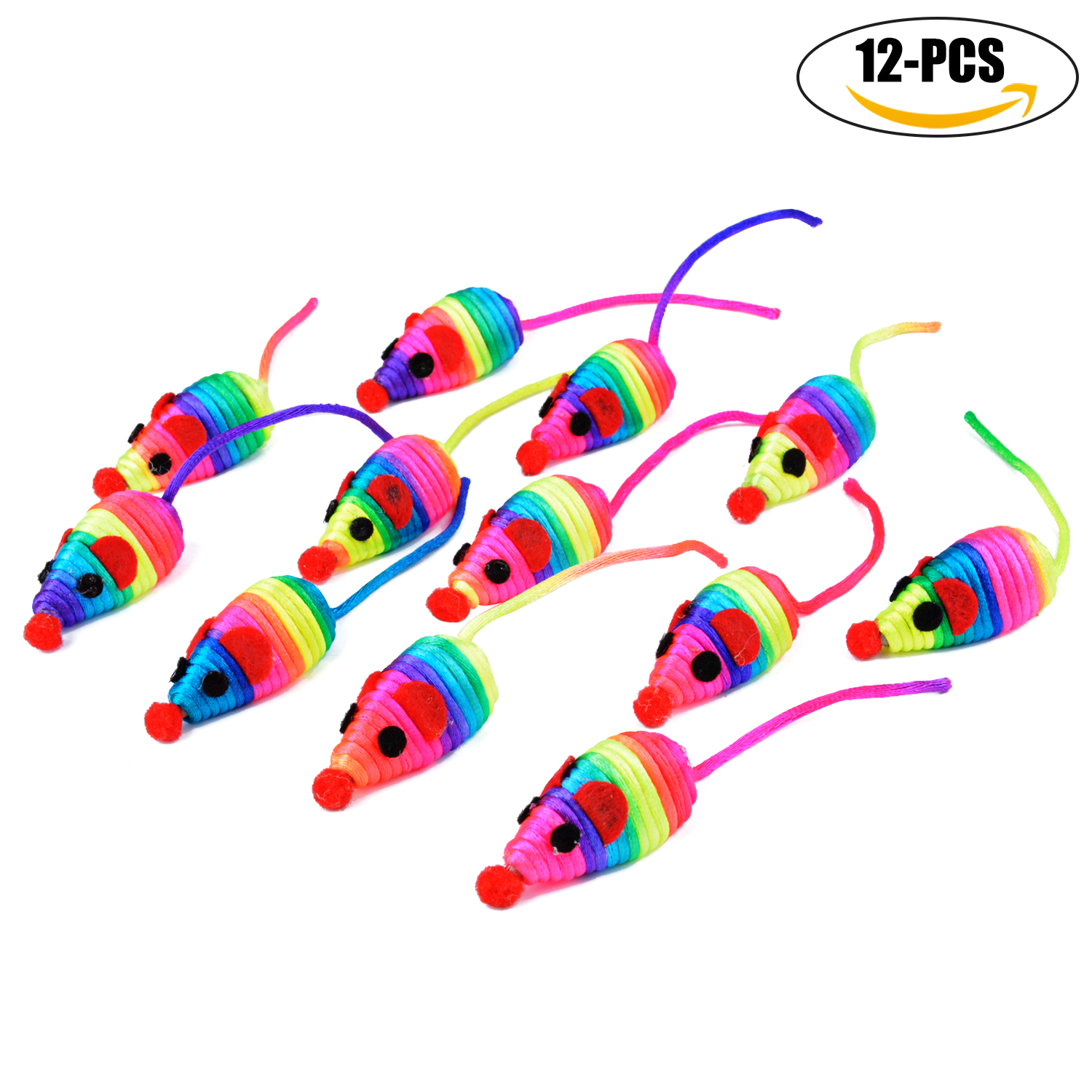 12Pcs Cat Toys set, Legendog Interactive Colorful String Mouse Cat Teaser Toys Kitten Toys for Cats Kittens by Legendog