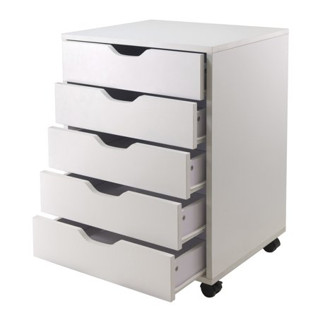 (Set of 2) Halifax 5-Drawer Vertcal Wood File Cabinet With Casters, Multiple - File System Set