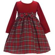 Little Girls Red Stretch Velvet Plaid Pattern Bow Occasion Dress 2T-6