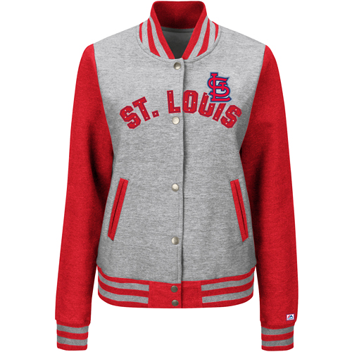 St. Louis Cardinals Majestic Women's Stolen Bases Full Button Jacket Gray by MAJESTIC LSG