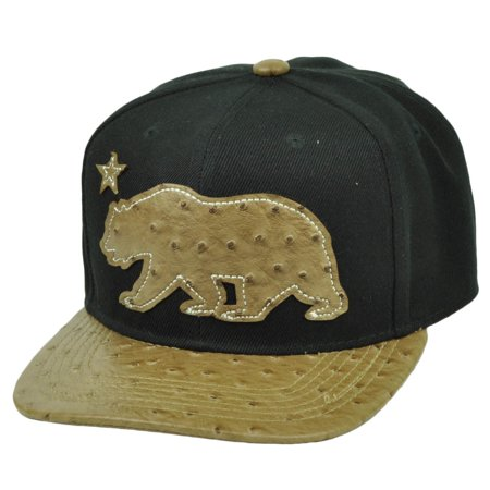 88948fa72f4 California Republic Cali Bear Ostrich Flat Bill Snapback Black Brown Hat Cap  - Walmart.com