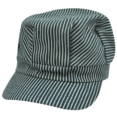 Fitted Cabby Cabbie Newsboy Driver Conductor Hat Cap Stripes Black Gray - Conductor Hat