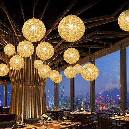 Bolla Pendant Lighting - Natural Modern Ball Ceiling Light Hanging Pendant Lamp Rattan Chandelier for Bar Cafe Living Room Dining Room Decor
