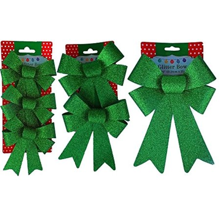 - Christmas Decoration Holiday Glitter Bows- Red, Green & Gold (Green)