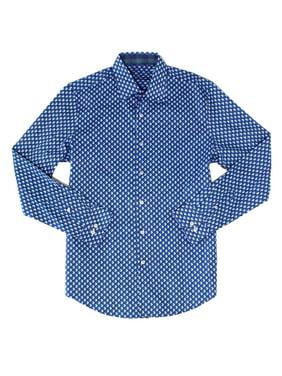 Tasso Elba Mens Geo Print Button Up Dress Shirt