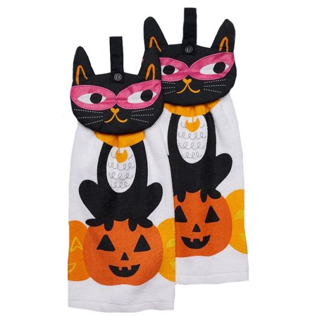 Mask Cat Halloween Kitchen Towel Set 2 - Main Dishes For Halloween