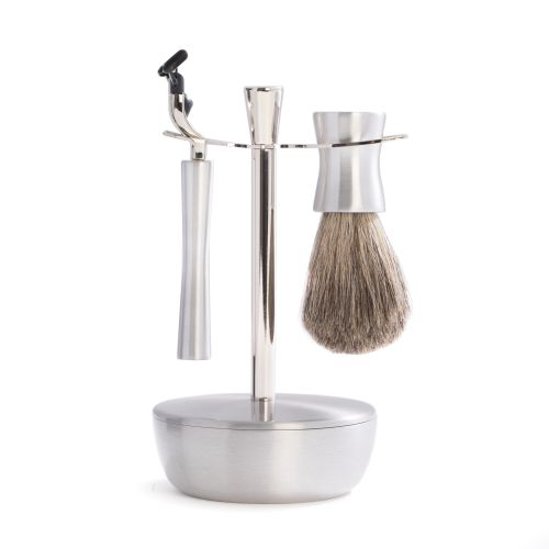 """""""Mach 3"""" Razor & Pure Badger Brush With Soap Dish & Stand"""