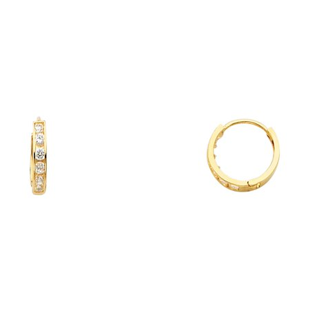 Ioka - 14K Gold 2mm Thickness CZ Stone Huggies Hinged Earrings