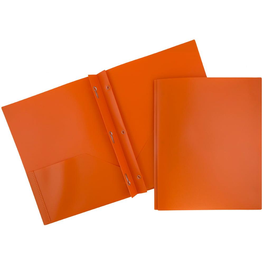 JAM Paper Plastic Eco Two Pocket Presentation Folder with Clasps, Orange, 96/pack