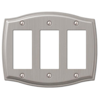 Triple Rocker GFCI Decora Wall Plate Cover - Brushed Nickel