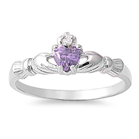 CHOOSE YOUR COLOR Sterling Silver Claddagh Ring Simulated Amethyst Traditional Irish Knot Band