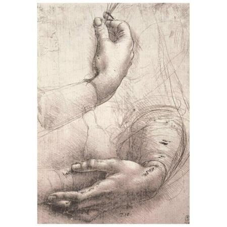 Leonardo da Vinci (Study of women's hands) Art Poster Print Poster - 13x18.5