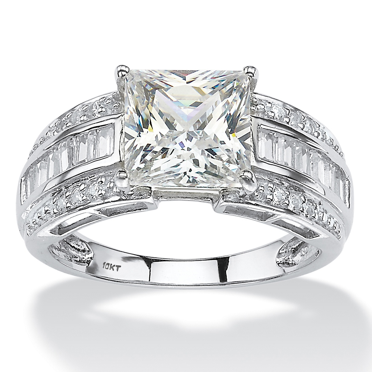 2.94 TCW Square-Cut and Step-Top Baguette Cubic Zirconia Engagement Ring in 10k White Gold