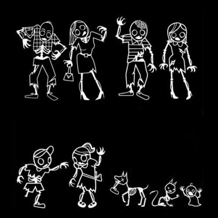 Zombie family auto car decals vinyl stickers set of 9 funny gag gift