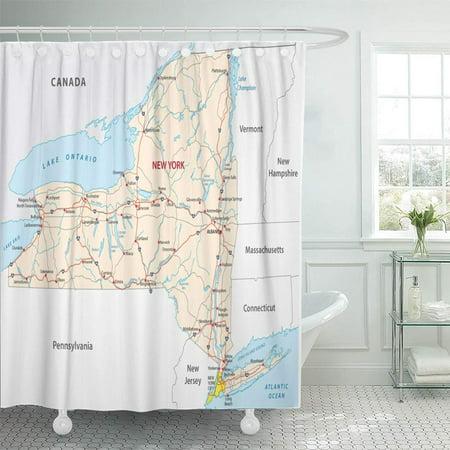 KSADK Island New York State Road Map Long Pennsylvania River Jersey Hudson USA Canada Shower Curtain 66x72 inch