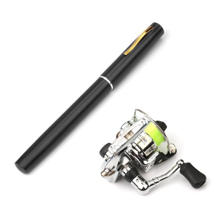 1M / 1.4M Pocket Collapsible Fishing Rod Reel Combo Mini Pen Fishing Pole Kit Telescopic Fishing Rod Spinning Reel Combo Kit ()