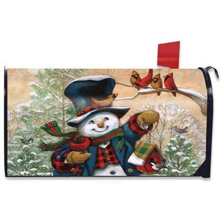 Winter Friends Snowman Large Magnetic Mailbox Cover Primitive Oversized ()