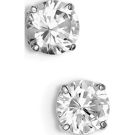 925 Sterling Silver Rhodium-plated Round CZ 8mm Post (8x8mm) Earrings - image 2 de 2