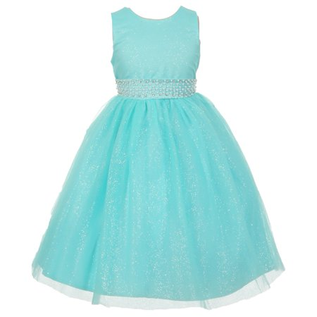 - The Rain Kids Little Girls Aqua Sparkly Tulle Pearls Occasion Dress 2