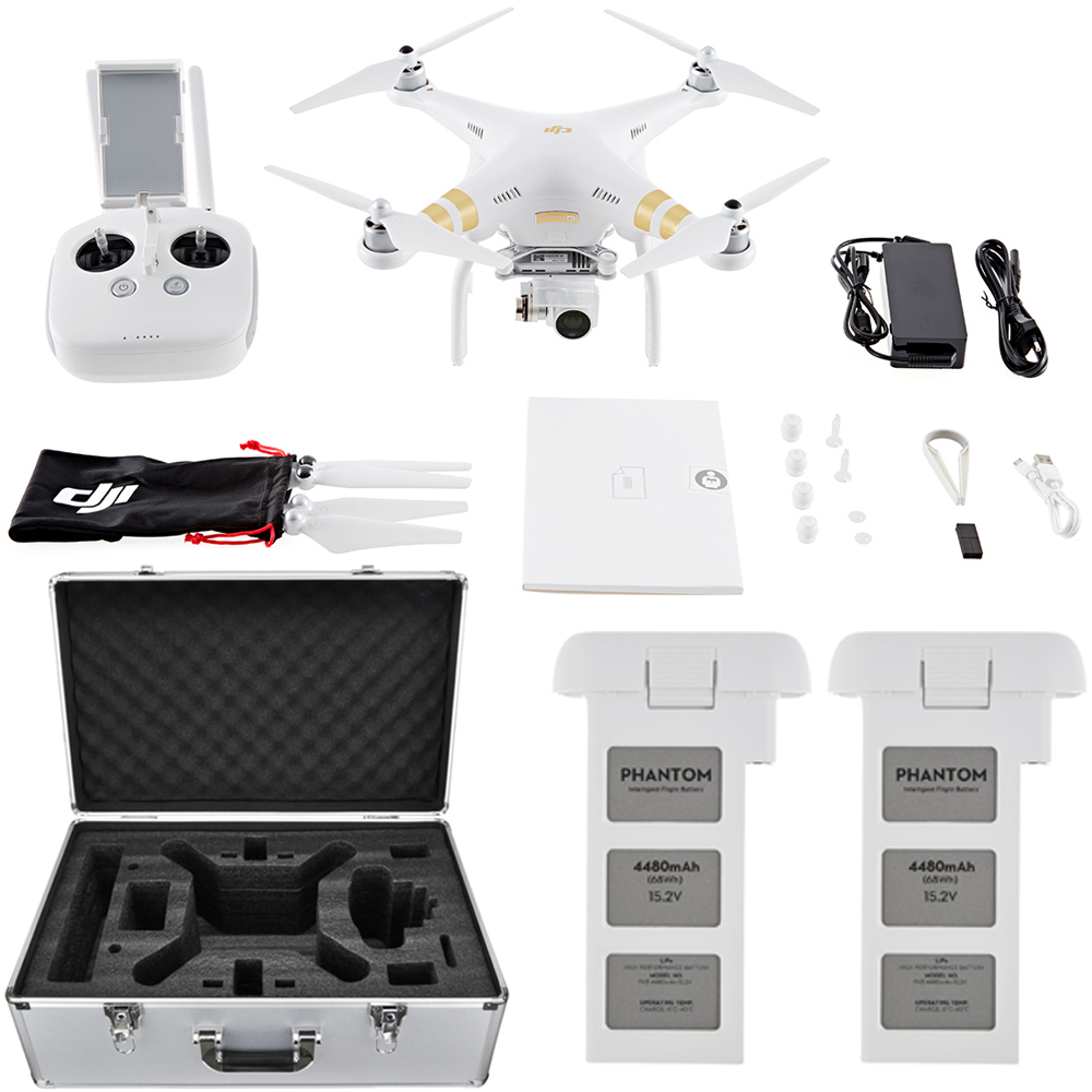 DJI Phantom 3 4K Quadcopter Drone with 4K Camera and 3-Axis Gimbal Flight Bundle includes Drone, Aluminum Carrying Case and Spare Intelligent Flight Battery