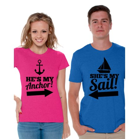 Awkward Styles He's My Anchor She's My Sail Shirts for Couples Sail and Anchor Matching Couple Shirts Marine T shirts for Couples Happy Valentines Day Love Gift Cute Anniversary Gifts for