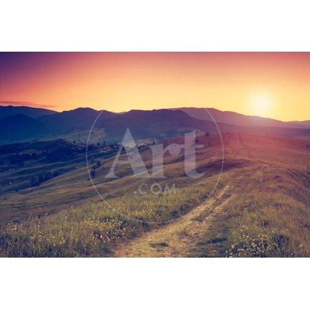 Fantastic Sunny Hills under Morning Sky. Dramatic Scenery. Carpathian, Ukraine, Europe. Beauty Worl Print Wall Art By Leonid