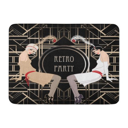 LADDKE 1920S Flapper Girl Retro Party Invitation Design Vector Illustration Speakeasy Doormat Floor Rug Bath Mat 30x18 inch - Speakeasy Decor
