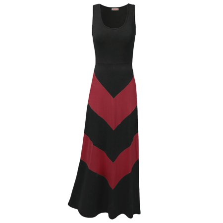 FashionOutfit Women's Color Block Striped Good Stretch Long Dresses