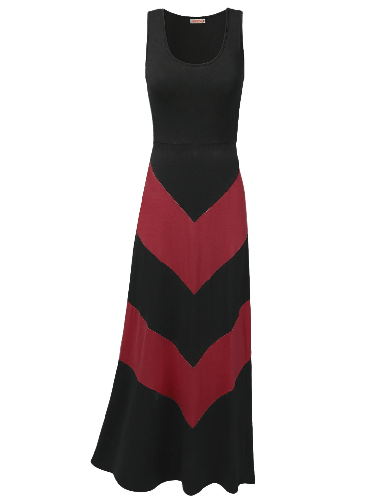 FashionOutfit Women's Color Block Striped Good Stretch Long Dresses