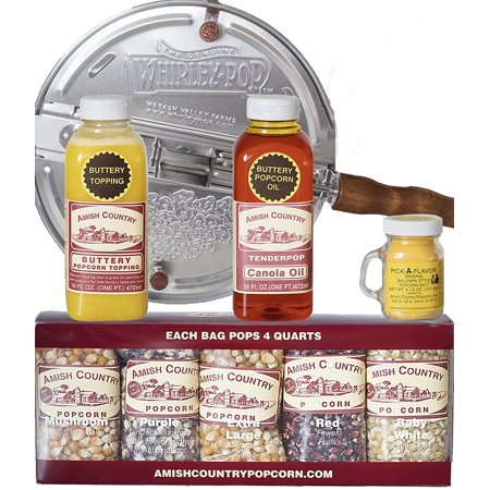Amish Country Popcorn - 6 Quart Whirley Pop Stovetop Popcorn Popper Gift Set - Old Fashioned, Non GMO, and Gluten Free