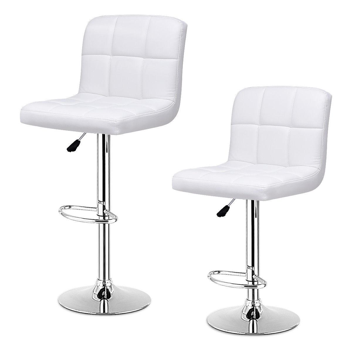 Set Of 2 Bar Stools PU Leather Adjustable Barstool Swivel Pub Chairs White - image 3 de 10