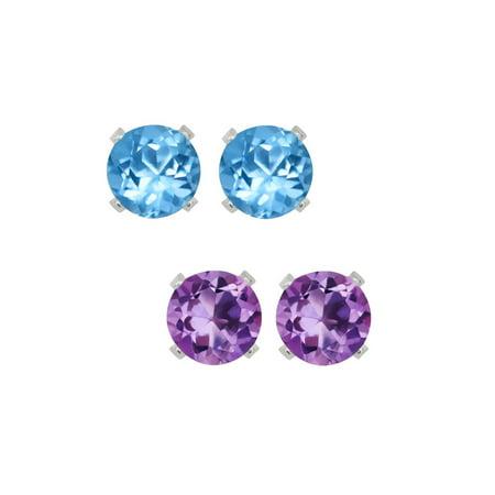 Sterling Silver 4mm Purple Amethyst and Blue Topaz Stud Earrings Set of 2