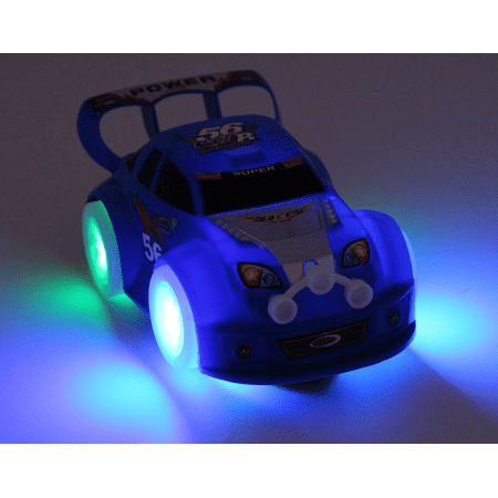 TECHEGE Toys Blue Speedy Racing Car for Toddler Kids with Flash Lights and Sounds