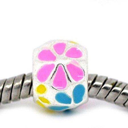 Beautiful Enamel Flower Bead Charm Spacer European Bead Compatible for Most European Snake Chain Bracelet