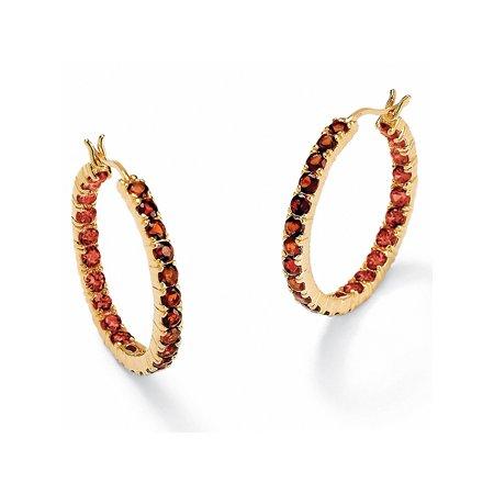 6.24 TCW Genuine Round Garnet Inside-Out Hoop Earrings in 18k Gold over .925 Sterling Silver (1 1/4