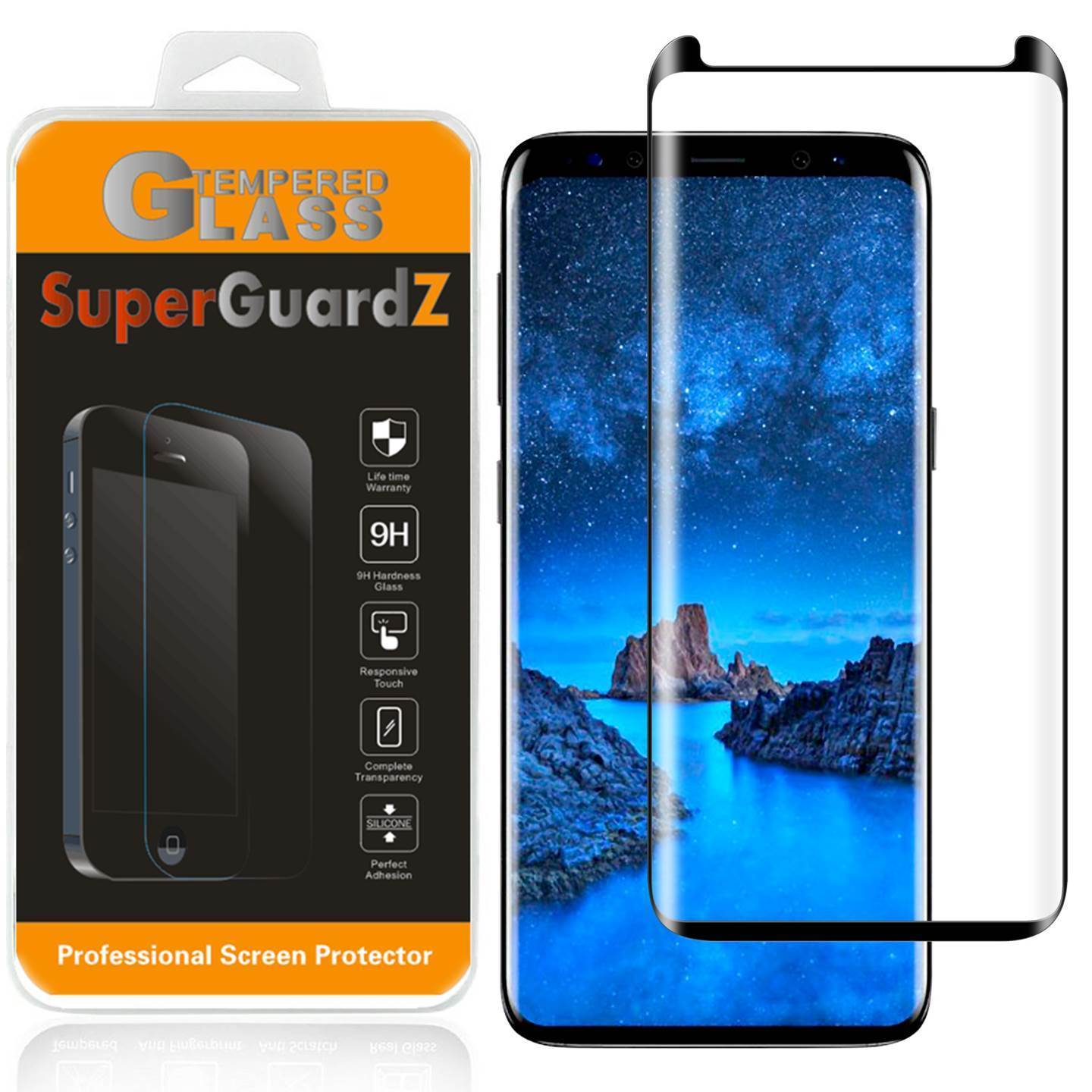 For Samsung Galaxy S9 Plus - SuperGuardZ 3D Curved [FULL COVER] Tempered Glass Screen Protector, 9H, Anti-Scratch, Anti-Bubble, Anti-Fingerprint