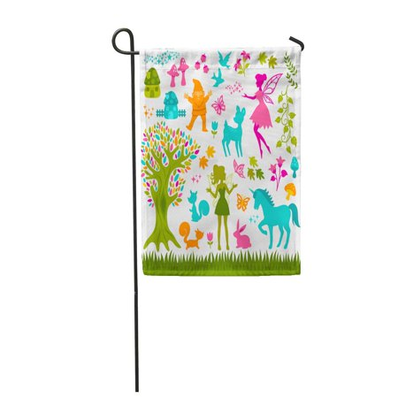 POGLIP Gnome Colorful Silhouettes Related to Forest and Fairytales World Garden Flag Decorative Flag House Banner 28x40 inch - image 1 of 1