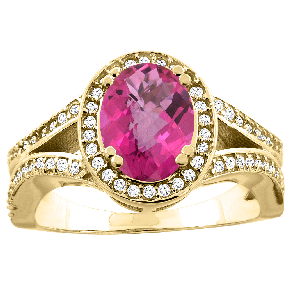 10K Yellow Gold Natural Pink Topaz Split Ring Oval 8x6mm Diamond Accent, size 5 by Gabriella Gold