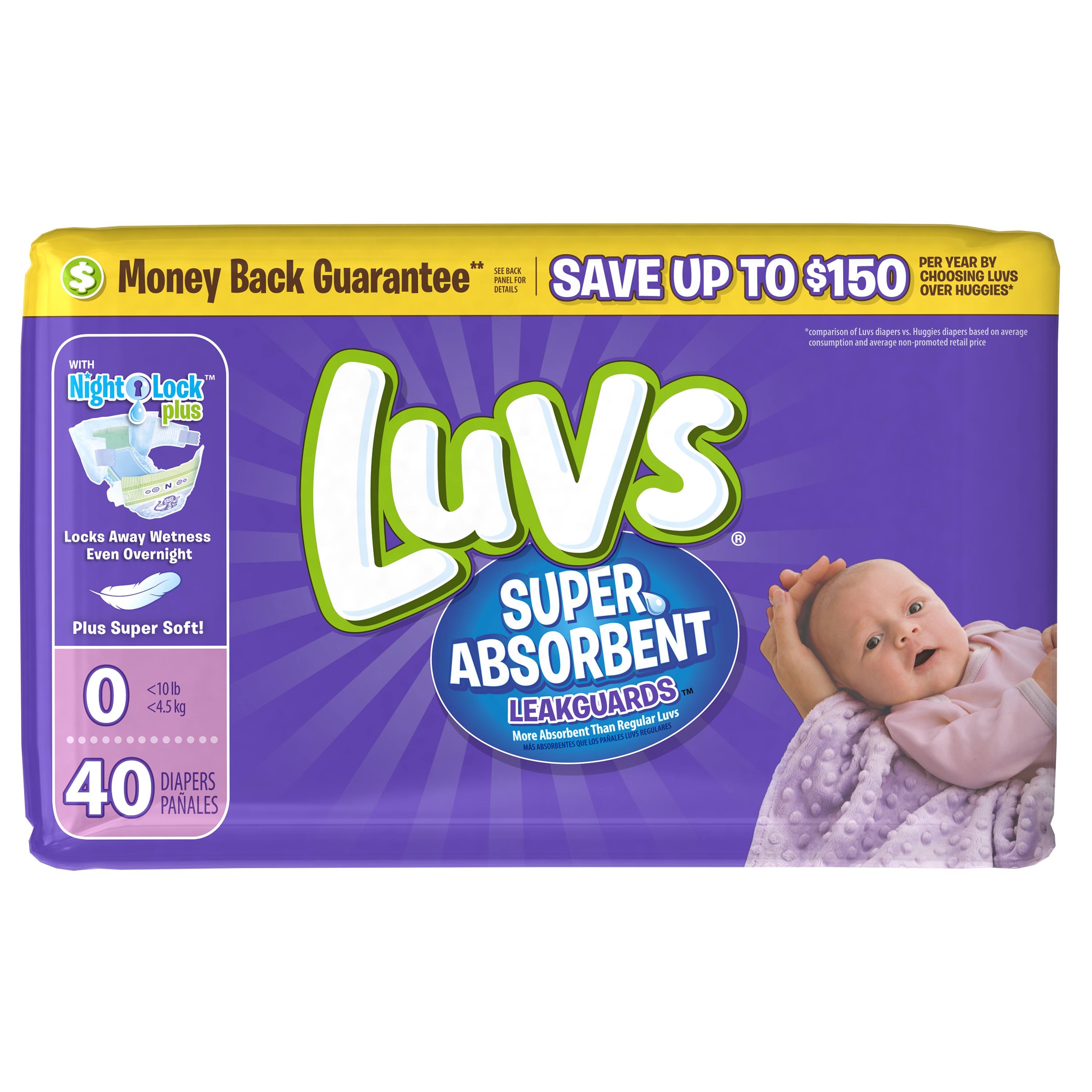 Luvs Super Absorbent Leakguards Diapers, Newborn, 40 Diapers