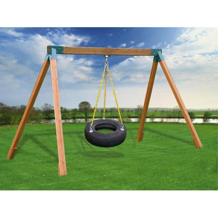 Eastern Jungle Gym Classic A-Frame Cedar Tire Swing Set with Lumber ...